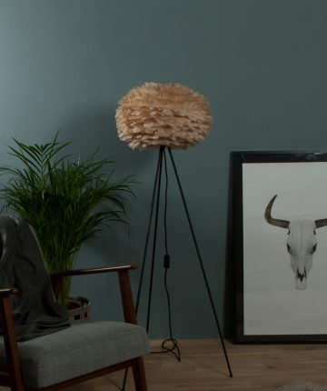 VITA desinger floor lamp with brown EOS feather shade