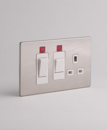Cooker Switch & Socket Silver & White