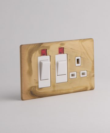 Cooker Switch & Socket Smoked Gold & White