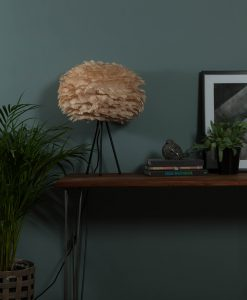 VITA table lamp with Brown EOS feather shade
