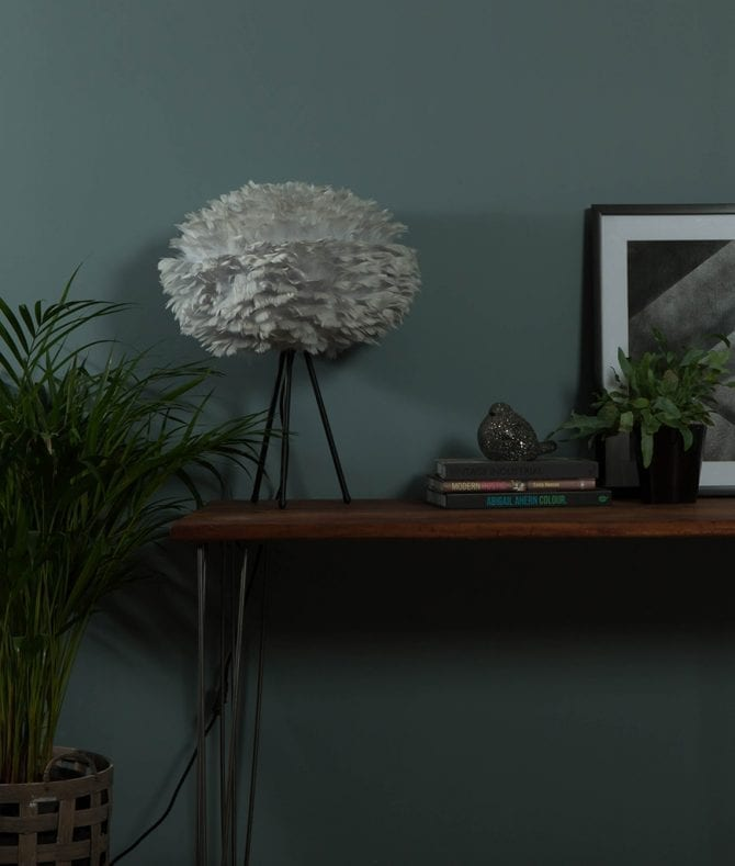 VITA table lamp grey EOS feather lampshade