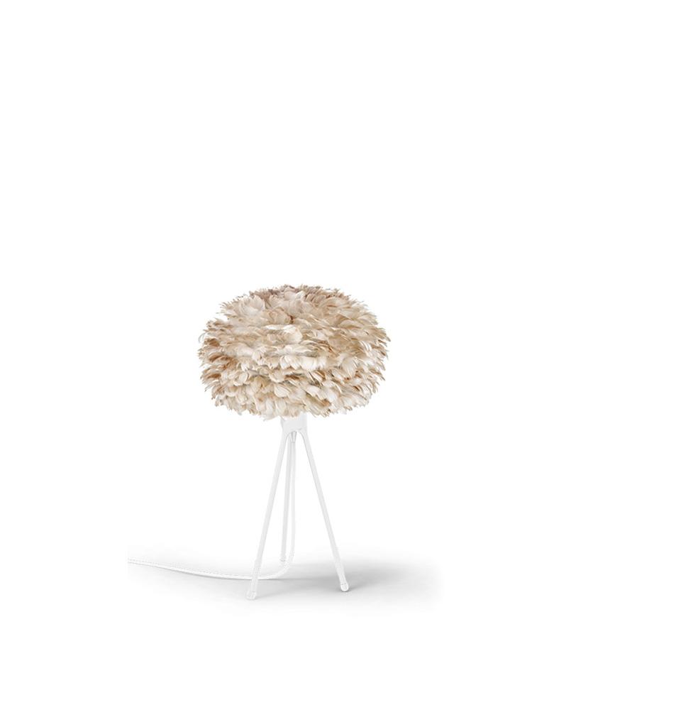 Vita Table Lamp with Eos Brown Feather Shade & Medium Tripod