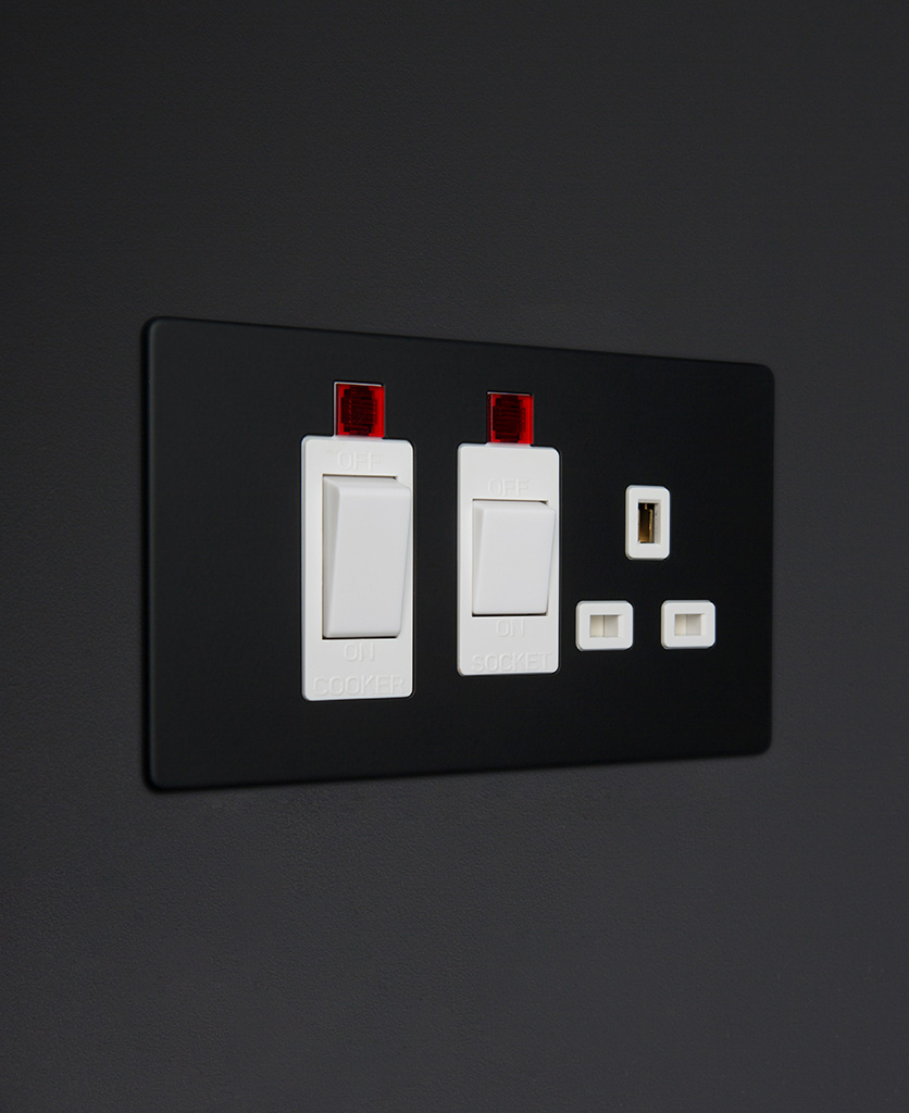 black and white cooker switch and socket