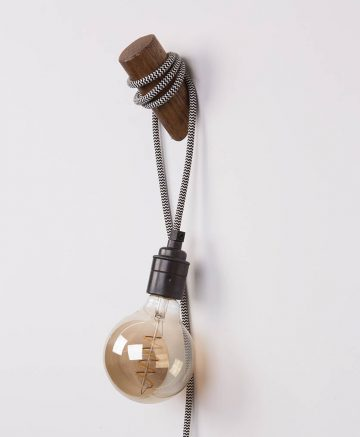 peg wall lamp dark oak & black & white