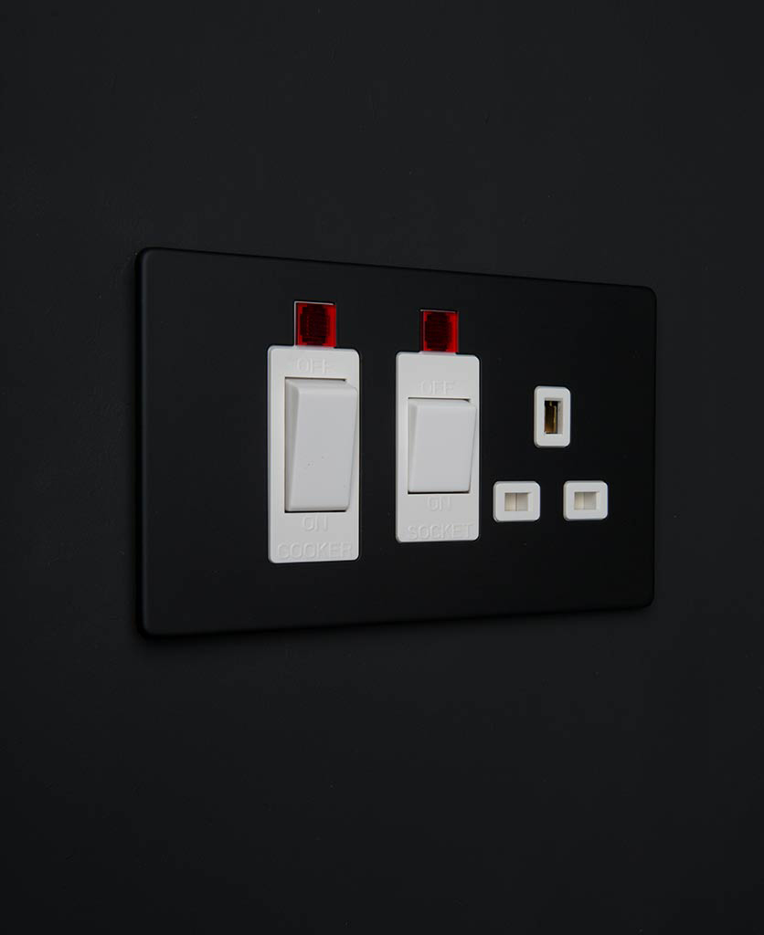 black & white cooker switches with plug socket
