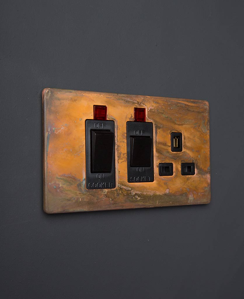Copper & Black Cooker Switch & Socket