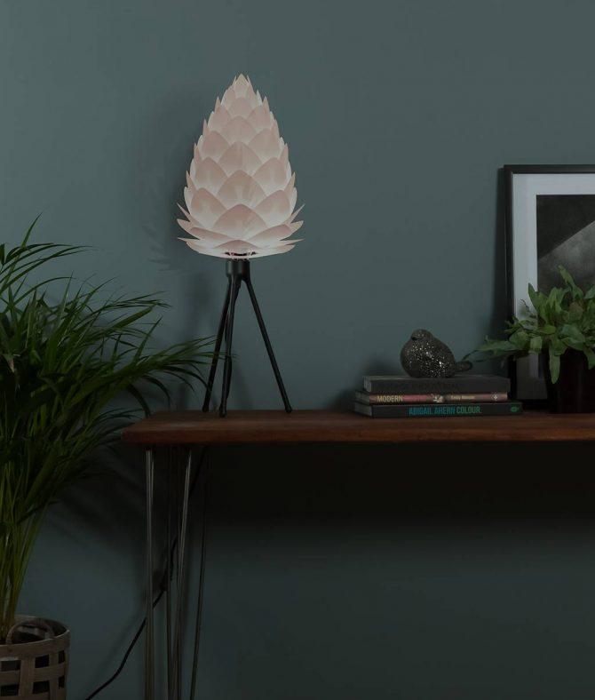 white vita conia table lamp black tripod