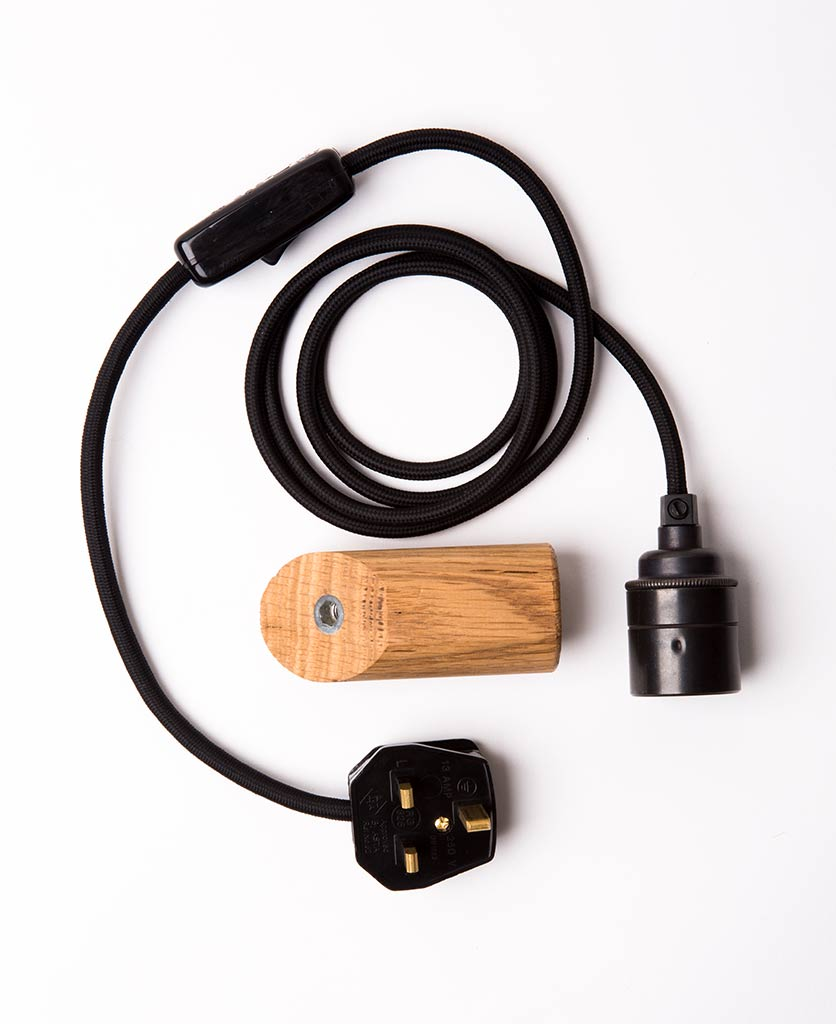 danish oil peg with black cable flatlay on white