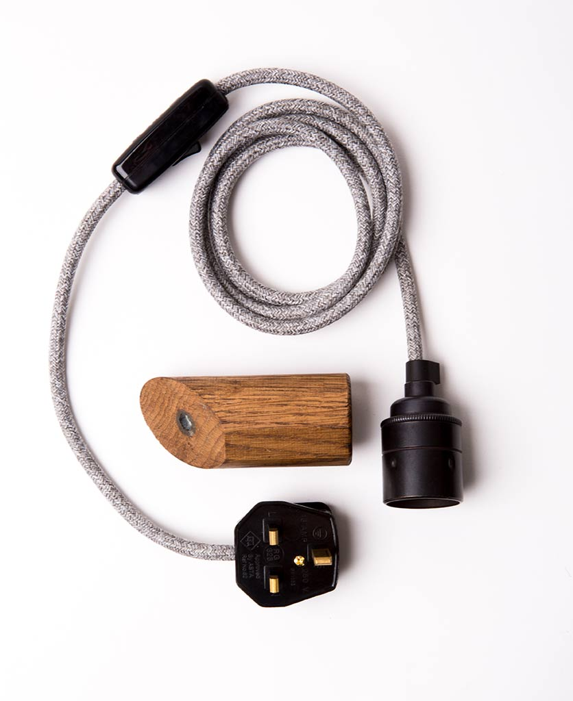 dark oak peg with grey jumper cable flatlay on white