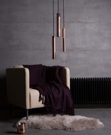 Polished Copper Pipe Lights in lifestyle shot