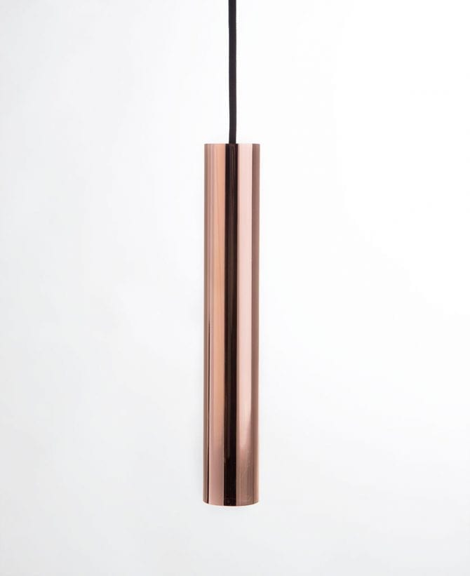 polished copper pipe light