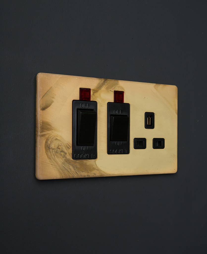 Smoked Gold & Black Cooker Switch & Socket