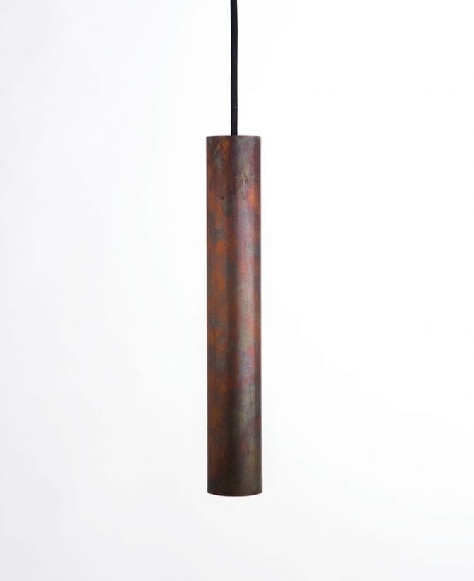 tarnished copper pipe light
