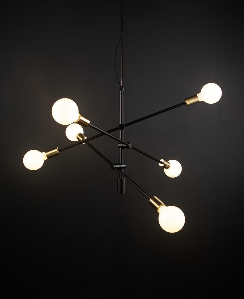 black modern chandelier with opal bulbs against black background