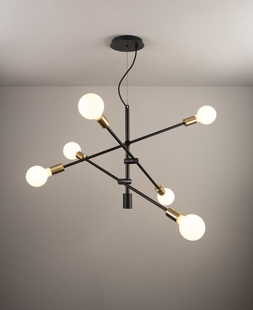 black modern chandelier with opal bulbs on grey ceiling