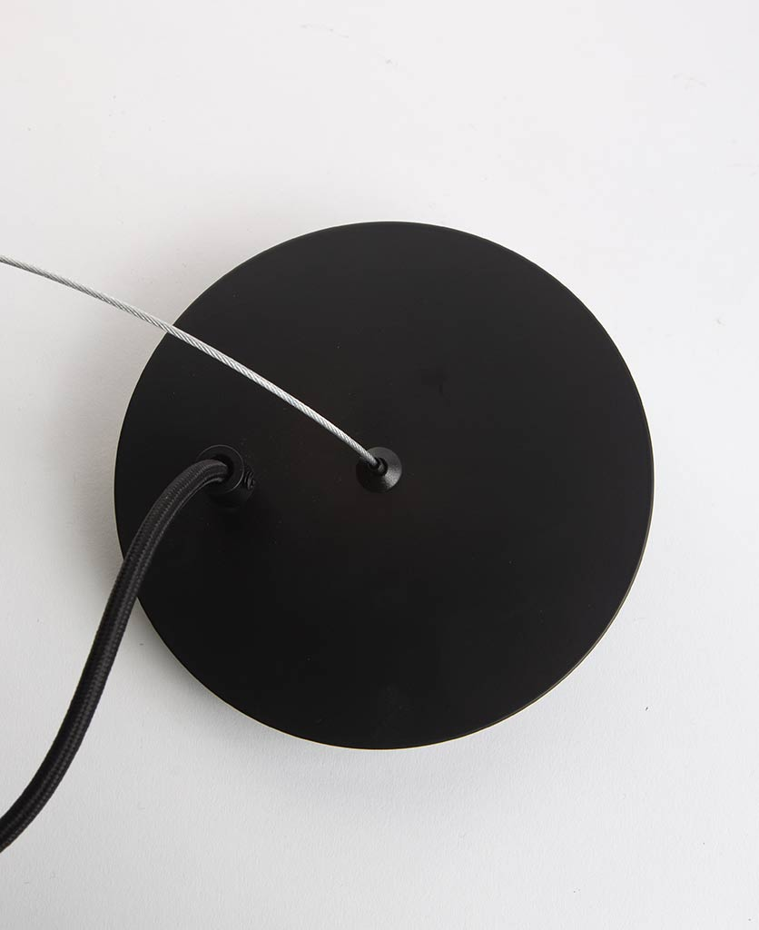 trikonasana black ceiling rose with silver suspension wire on white background