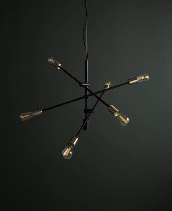 Black Trikonasana Penadnt Light with Clear Bulbs