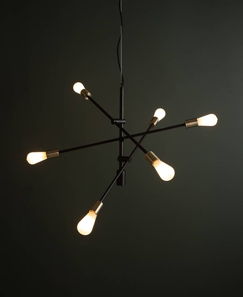 Black Trikonasana Penadnt Light with Frosted Bulbs