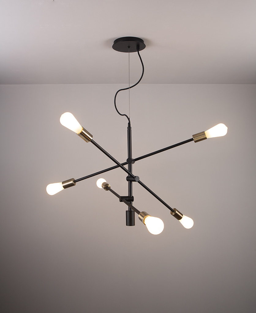 black modern chandelier with frosted pear bulbs on a grey background