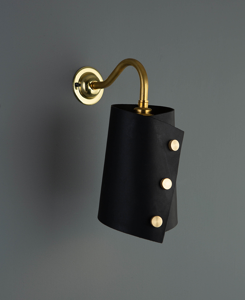 Image of: Wall Sconce Lighting Leather Cuff Wall Lamp In Three Leather Colours