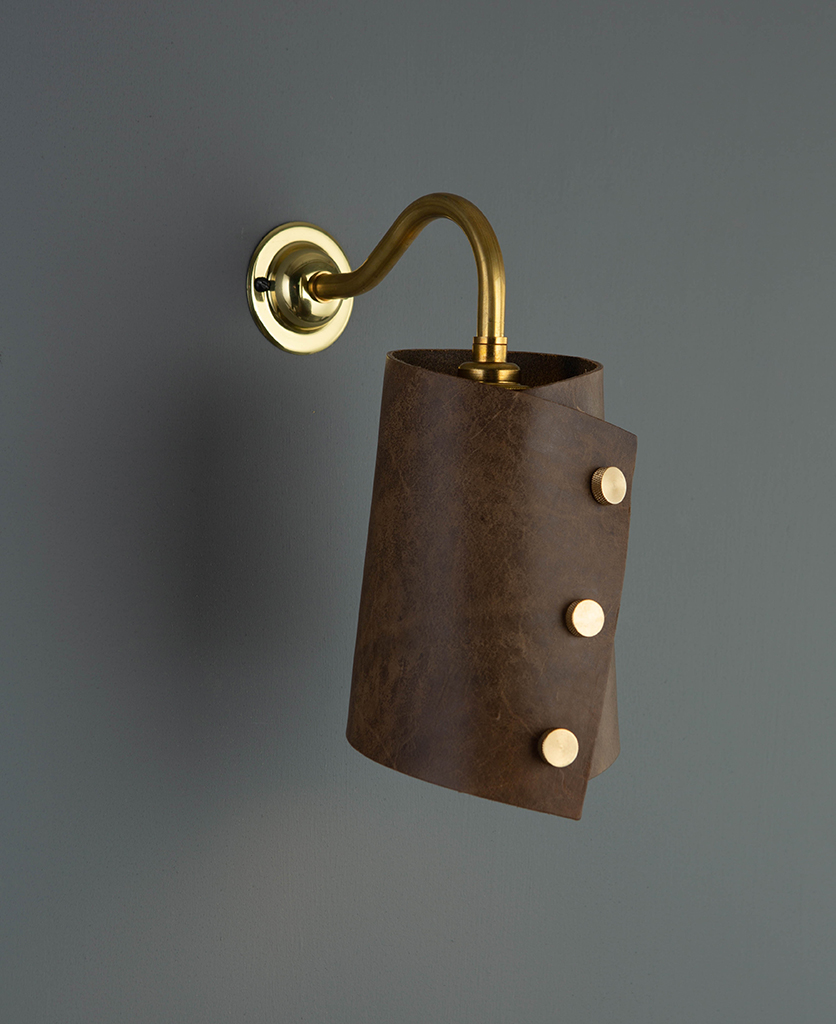 leather wall light brass & tan