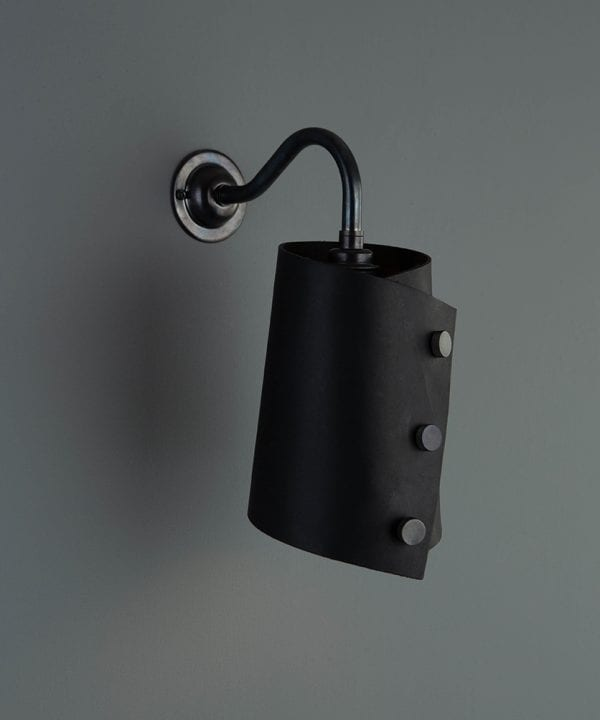 leather wall light bronze & black