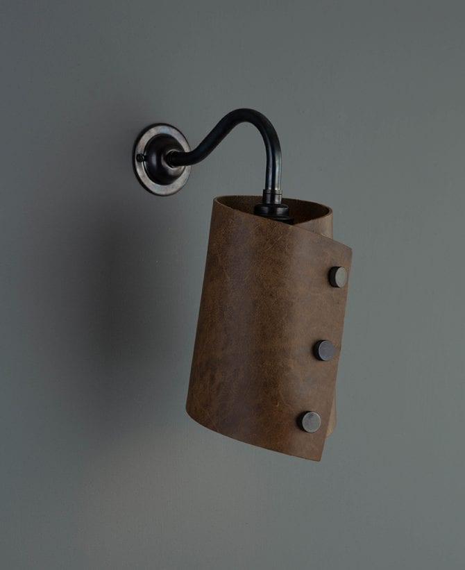 leather wall light bronze & tan