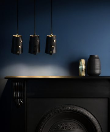 black leather pendant lights
