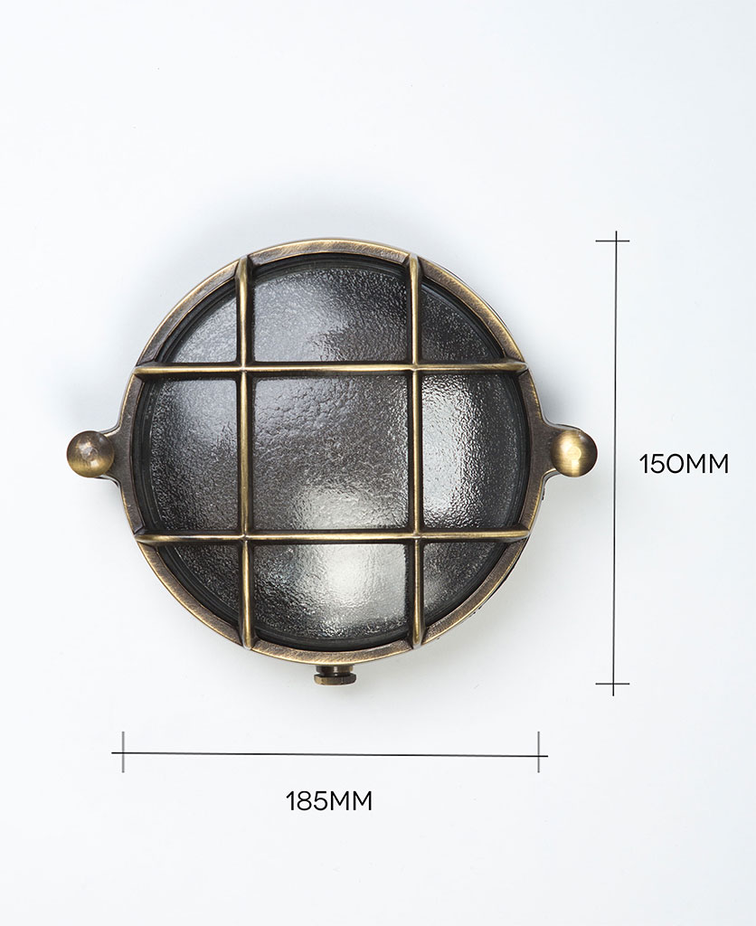mark aged brass bulkhead light against white background with dimensions