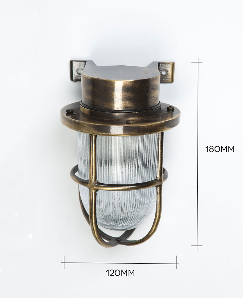 simon aged brass bulkhead light against white background with dimensions