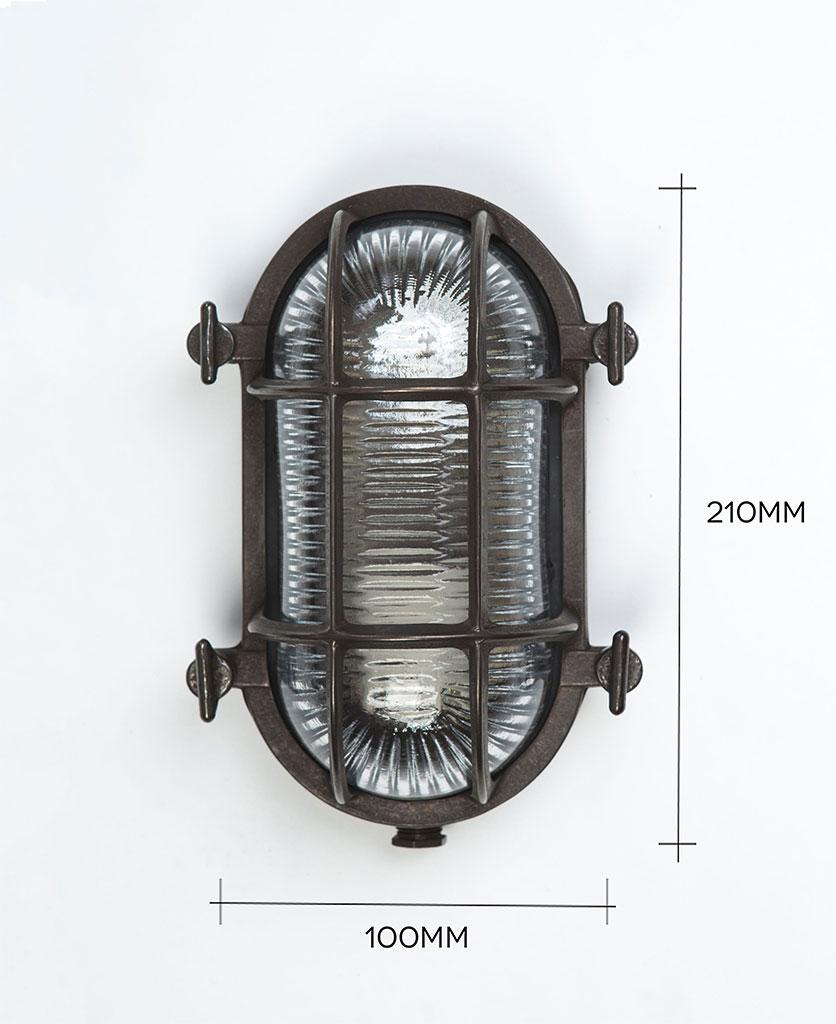 steve pewter bulkhead light against white background with dimensions