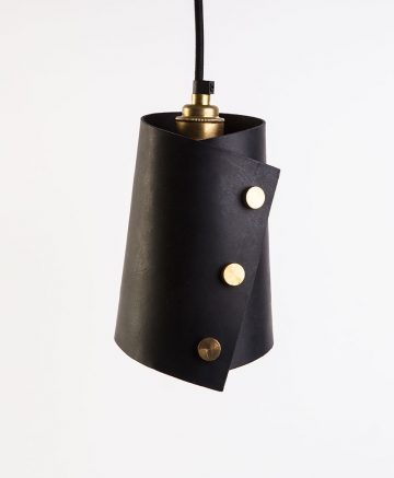 Obsidian Leather cuff light with brass knurled knobs