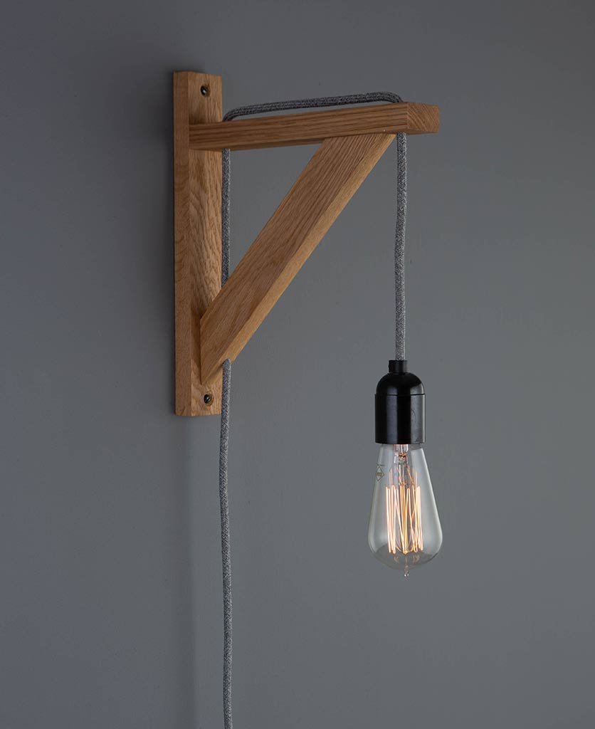 hebden rustic bedroom wall light oak with fabric cable 14462 | hebden grey jumper on