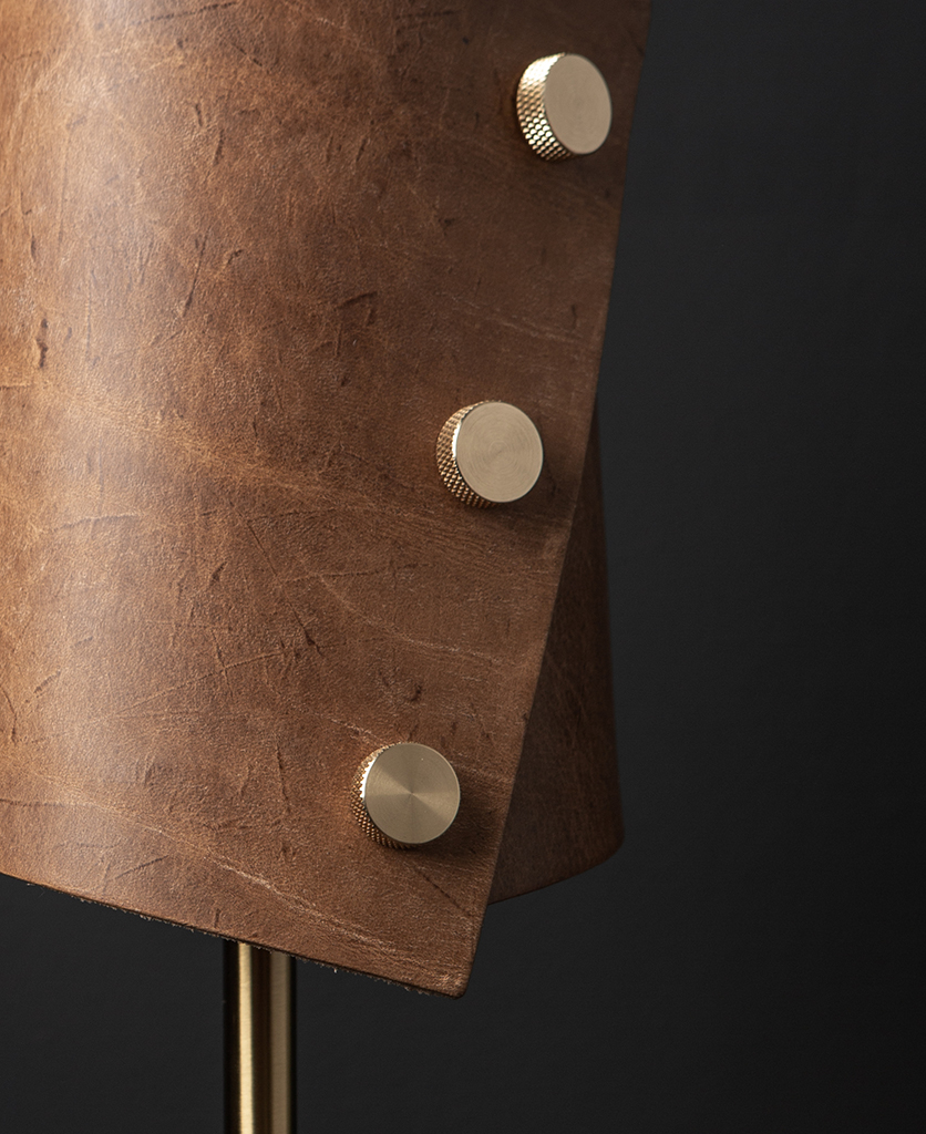 Tan and Brass Leather Cuff Lamp Close Up