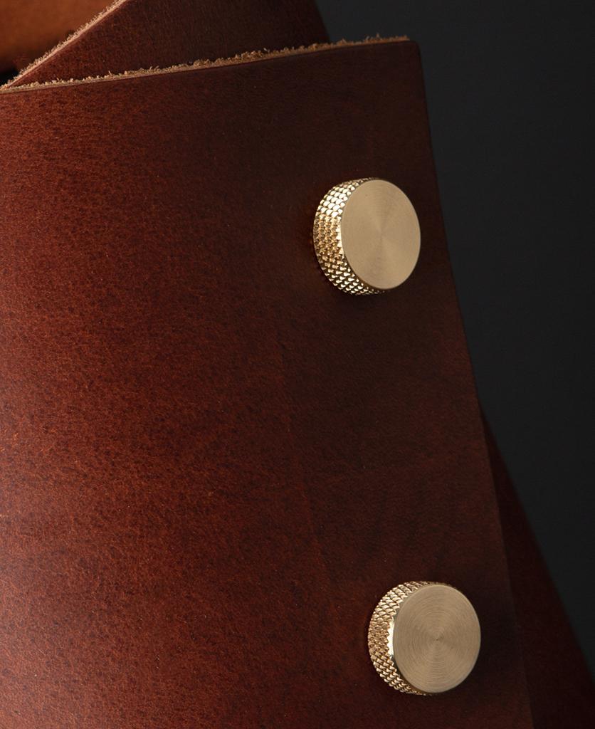 Oak and Brass Leather Cuff Lamp Close Up