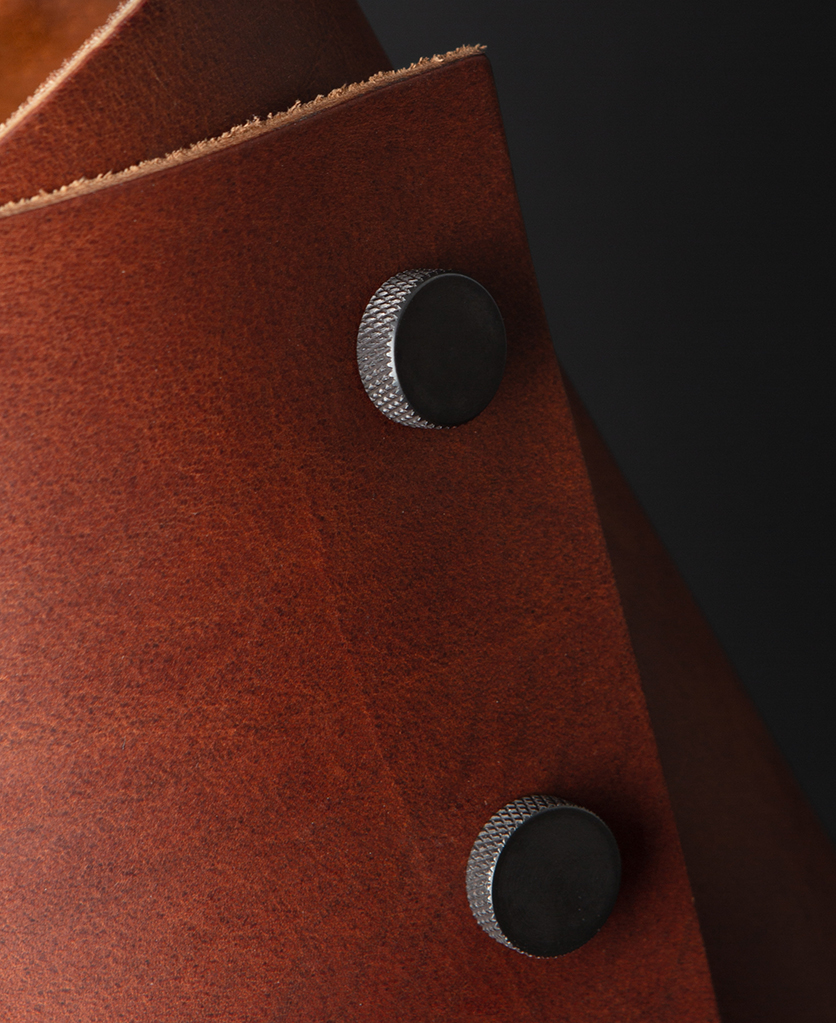 Oak and Antique Leather Cuff Lamp Close Up against black background