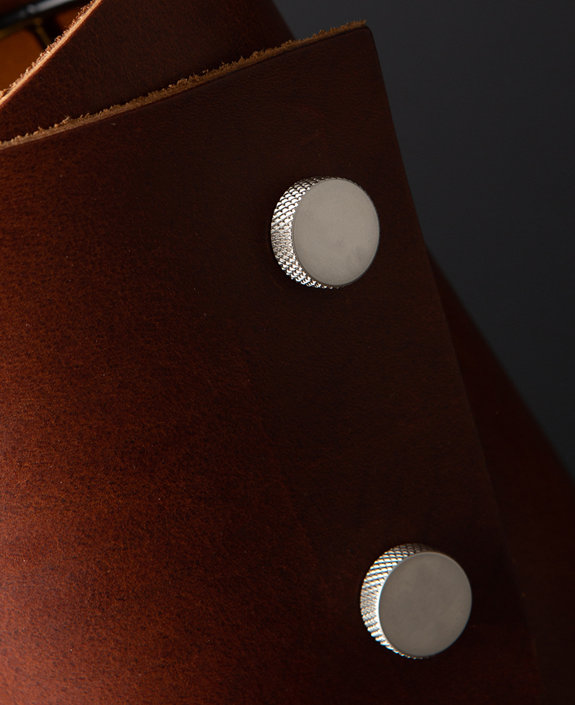 Oak and Silver Leather Cuff Table Lamp Close Up against black background