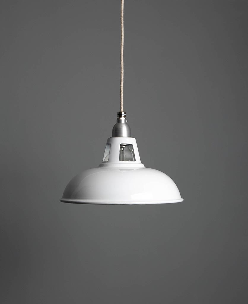 farsley enamel pendant light white light shade suspended from white fabric cable against a dark grey wall