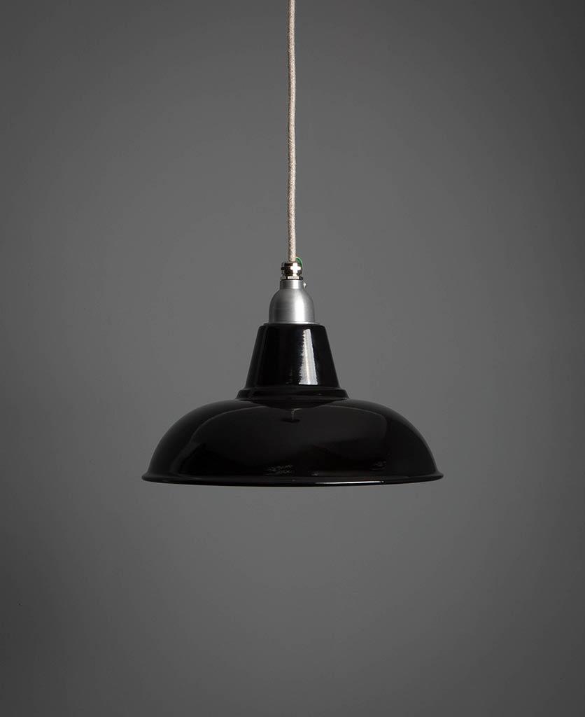 morley black enamel pendant light suspended against grey wall