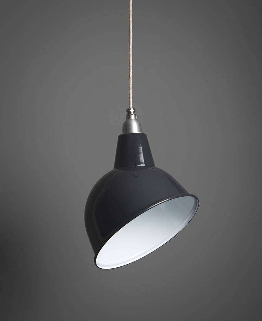 Oulton industrial pendant light grey suspended from grey fabric cable against dark grey wall
