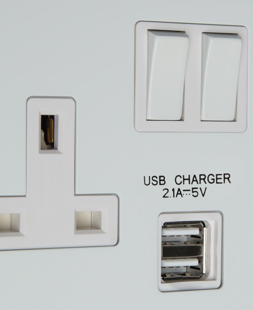 white double usb plug socket close up