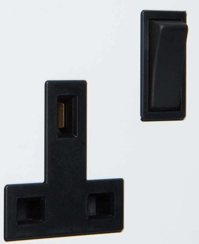 white and black single plug socket close up