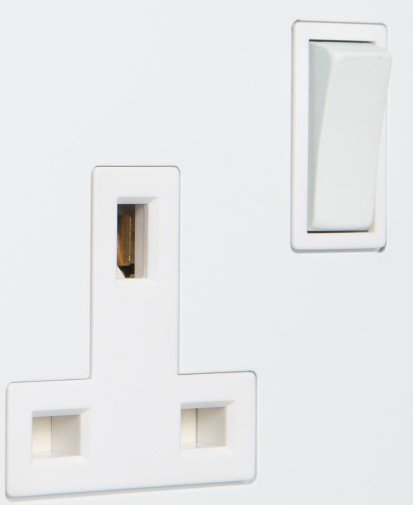 white single plug socket close up