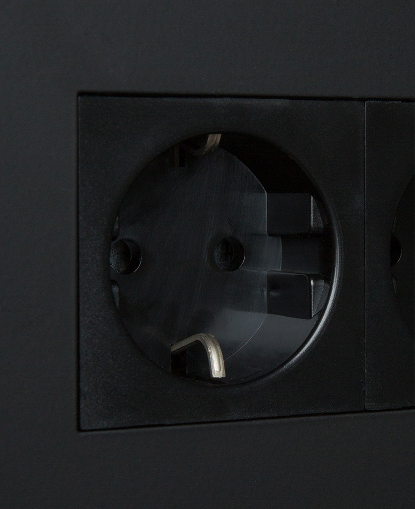 black double schuko socket close up