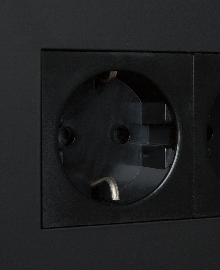 black double schuko socket close up