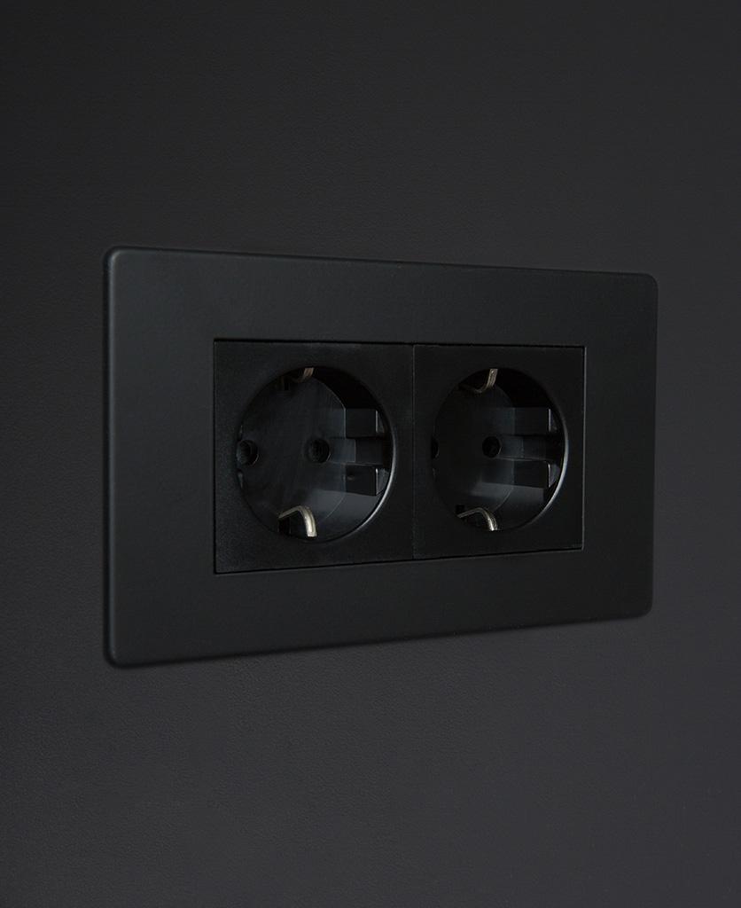 black double schuko socket