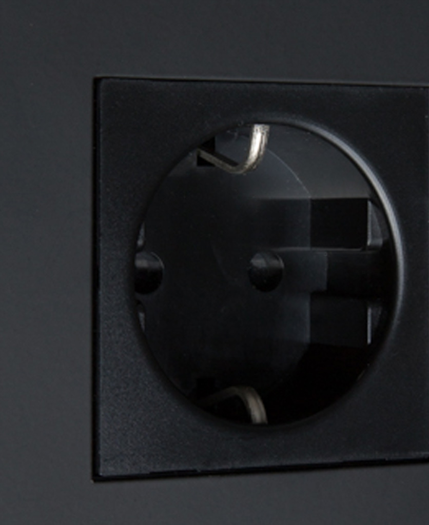 black schuko socket close up