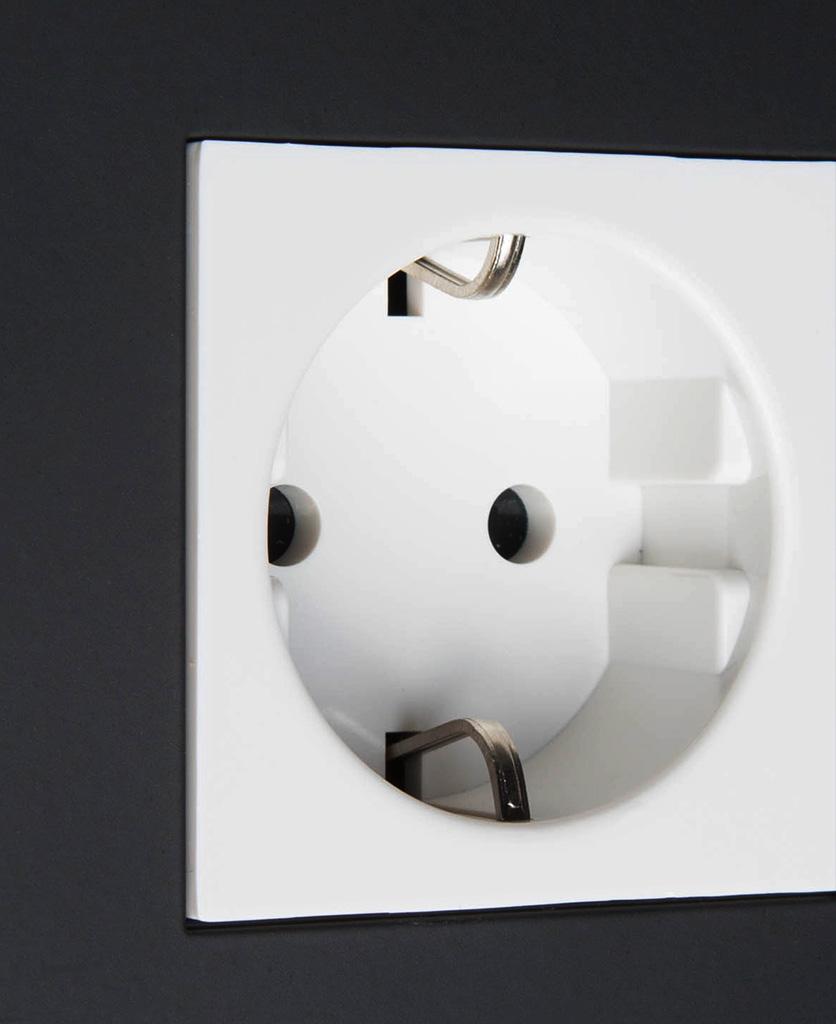 black and white schuko socket close up