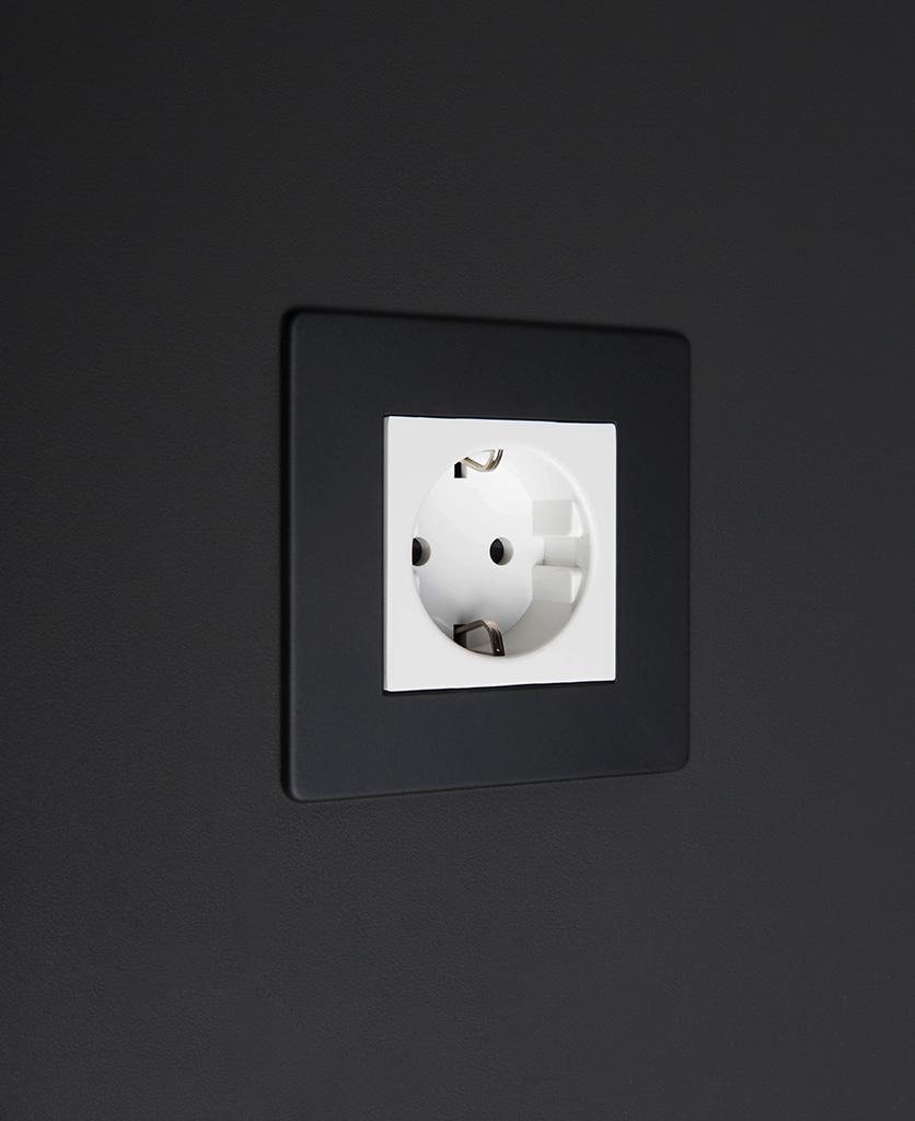 black and white schuko socket