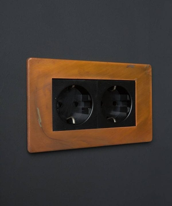 Tarnished Copper & Black Double Schuko Socket